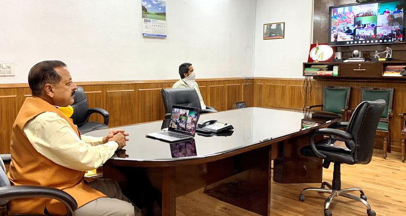 Union Minister Dr Jitendra Singh interacting with various Self Help Groups associated with North Eastern Region Community Resource and Management Program (NERCORMP), through a Webinar, on Saturday.