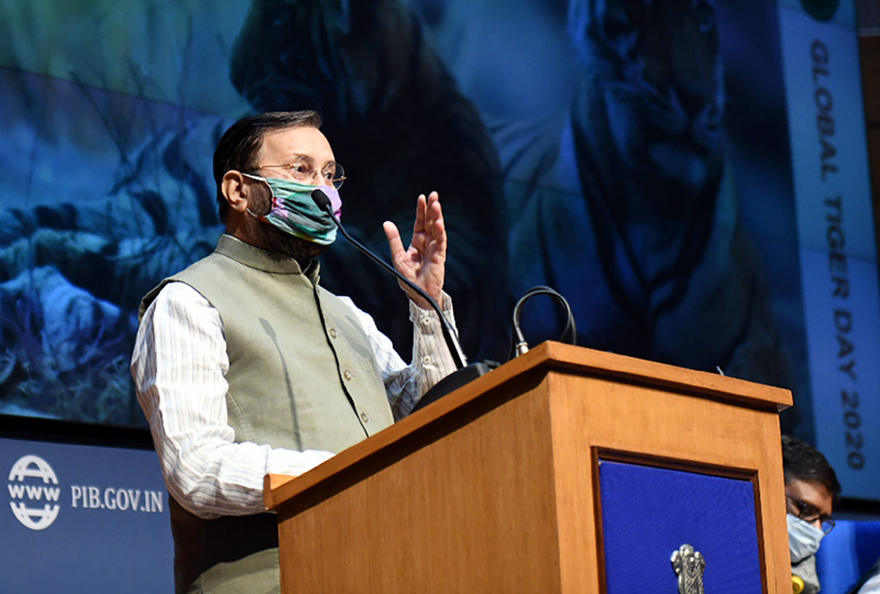 Union Minister for Environment, Forest & Climate Change, Information & Broadcasting and Heavy Industries and Public Enterprise, Prakash Javadekar releasing the report of Tiger Census, on the eve of the Global Tiger Day, in New Delhi on Tuesday.