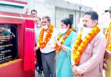 JMC Mayor Chander Mohan Gupta inaugurating green spaces at Gangyal in Jammu.