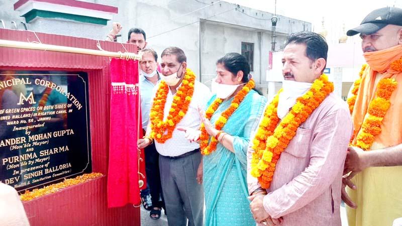 JMC Mayor Chander Mohan Gupta inaugurating green spaces at Gangyal in Jammu.