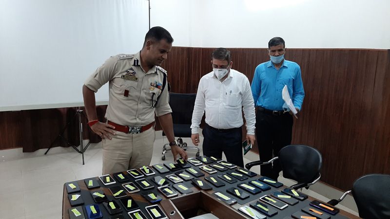Stolen mobile phones recovered by Kathua police on Tuesday. -Excelsior/Pardeep
