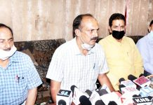 Leaders of DSSP at a press conference at Jammu on Sunday. -Excelsior/Rakesh