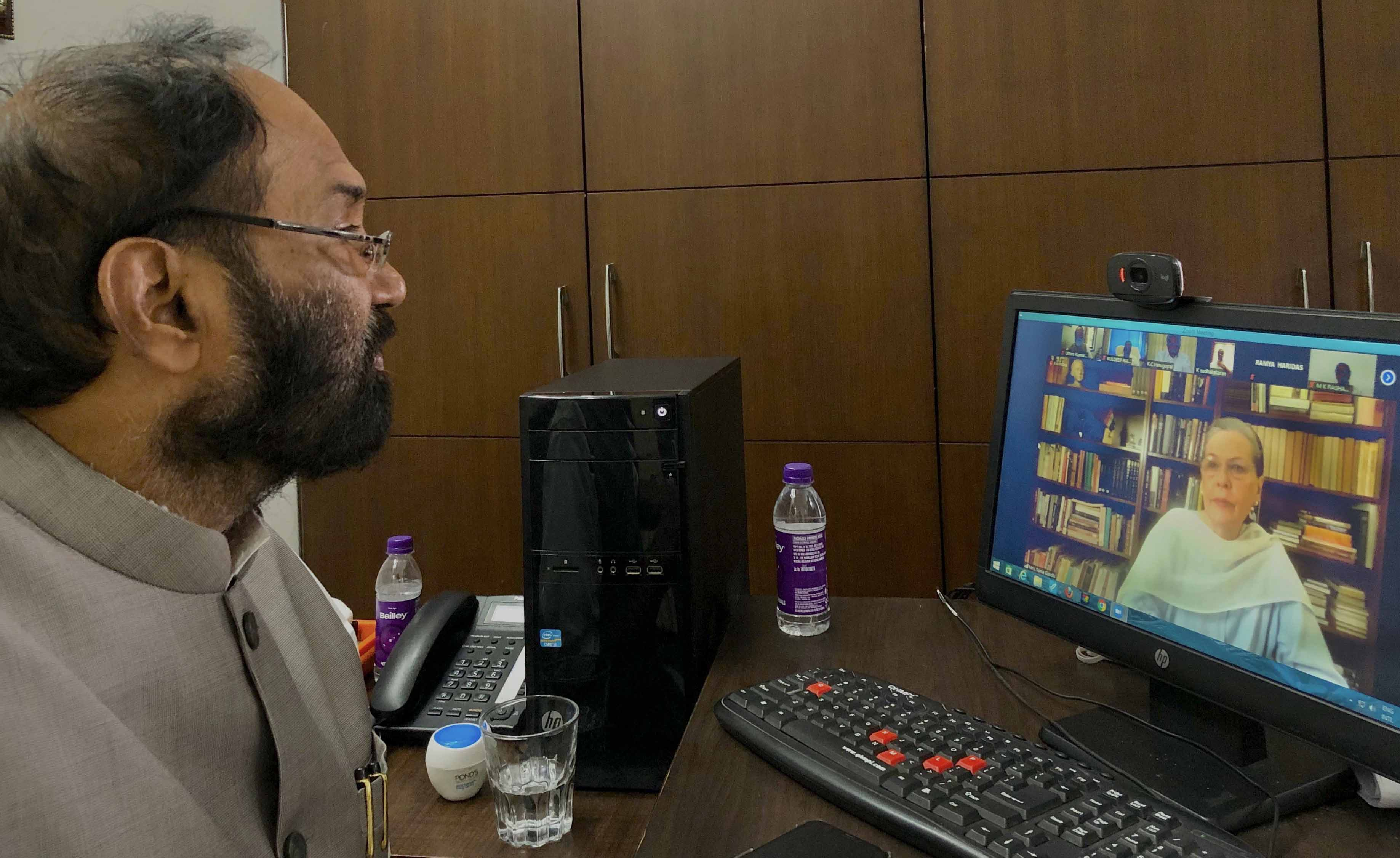 Congress President Sonia Gandhi speaking to Uttam Kumar Reddy and MP's from Telangana throught Video Conferencing, in Hyderabad on Saturday. (UNI)