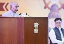 President Ram Nath Kovind addressing during inauguration of the Dharma Chakra Diwas in a Virtual Event organised by International Buddhist Confederation at Rashtrapati Bhavan Cultural Centre, in New Delhi on Saturday. (UNI)