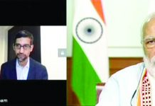 PM Modi (right) in an interaction with Google CEO Sundar Pichai (left)