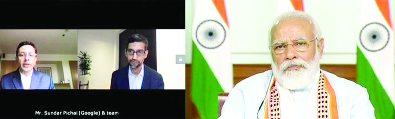 PM Modi (right) in an interaction with Google CEO Sundar Pichai (left)