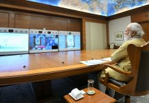 Prime Minister, Narendra Modi chairing a meeting to review the preparations Covid-19 pandemic, in New Delhi on Saturday.