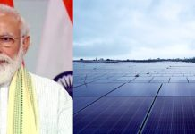 Prime Minister Narendra Modi launching 750 MW Solar Project set up at Rewa, Madhya Pradesh on Friday.