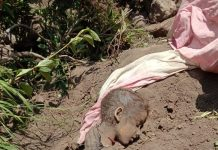 The body of a girl child lying in the debris in forest area of Ramban.