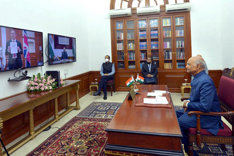 President Ram Nath Kovind accepting credentials from Philip Barton, High Commissioner of the United Kingdom via video conferencing, at Rashtrapati Bhawan in New Delhi.