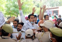PYC activists staging protest in Jammu on Monday. — Excelsior/Rakesh