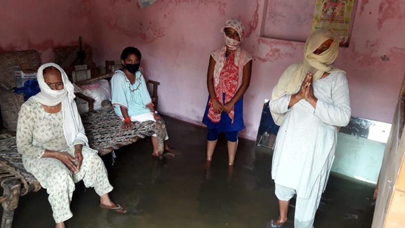 Rain water spells doom for poor residents of Chak Manga Rakwal in Samba. -Excelsior/Badyal