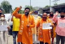 Shiv Sena activists during a protest demonstration at Jammu on Sunday.