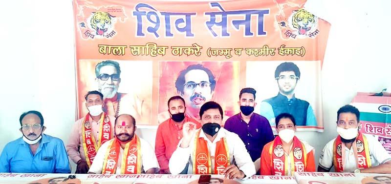 Shiv Sena leaders addressing a press conference at Jammu on Friday.