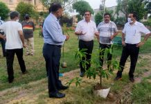 JMC Mayor Chander Mohan Gupta during a plantation drive in a park at Upper Roop Nagar, Jammu.