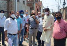 Former Dy CM Kavinder Gupta during visit in Gandhi Nagar constituency.