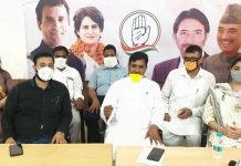 Cong Councillors addressing press conference in Jammu.