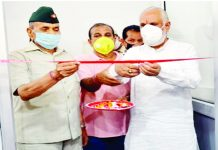 Member Parliament, Shamsher Singh Manhas inaugurating Gym at PNB Complex, Sarwal on Friday.