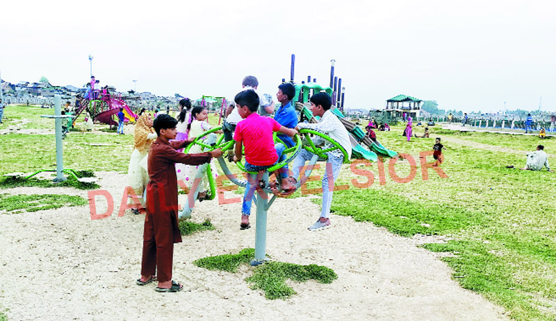 Children playing in a park in Srinagar amid COVID-19 on Sunday. —Excelsior/Shakeel