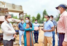 DC Sushma Chauhan inspecting Jammu-Akhnoor 4-lane project on Saturday.