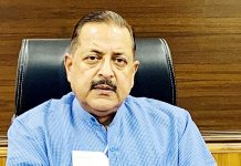 Union Minister Dr Jitendra Singh briefing about the developmental breakthroughs achieved during the last one year in J&K, on Saturday.
