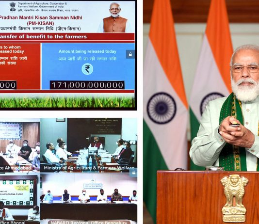 Prime Minister Narendra Modi launches the financing facility of Rs.1 Lakh Crore under Agriculture Infrastructure Fund through video conferencing, in New Delhi on Sunday. (UNI)