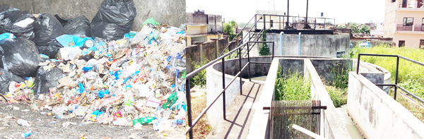 Bio-medical wastes lying unattended in GMC Jammu (L) and non-functional ETP at Super Speciality Hospital Jammu (R).