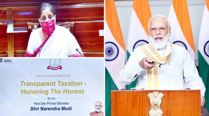 Prime Minister Narendra Modi launches the platform for 'Transparent Taxation-Honoring the Honest', through video conferencing in New Delhi on Thursday.(UNI)