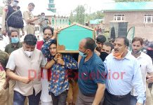 BJP Sarpanch killed by the militants being taken for burial at Vessu Kulgam on Thursday. -Excelsior/Sajad Dar