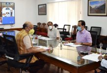 Lieutenant Governor GC Murmu chairing the Administrative Council meeting in Srinagar on Wednesday.