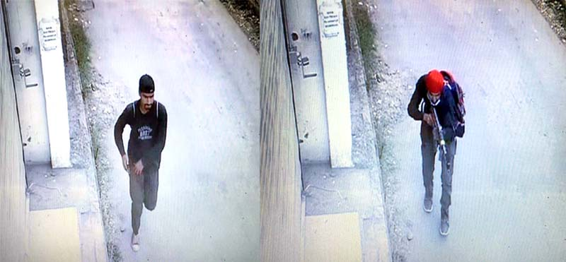 Two militants who attacked police party at Nowgam in Srinagar on Friday captured on CCTV cameras.