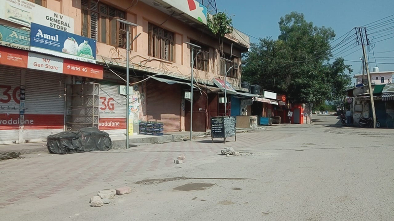 Complete shutdown in Reasi town on Wednesday. —Excelsior/Ramesh Mengi