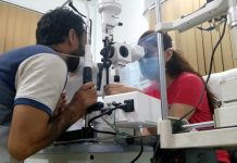 An ophthalmologist examining eye of a patient in a yet to be inaugurated corneal transplant centre in Jammu.
