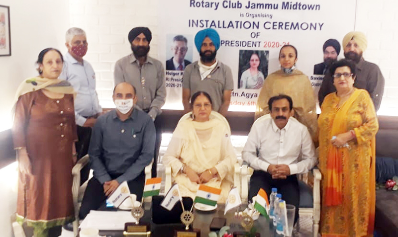 Installation ceremony being held by Rotary Club Jammu on Thursday.