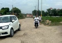 A view of dilapidated road of Gole-Bhagwati Nagar, Jammu.
