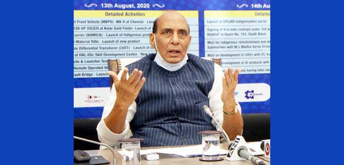 Defence Minister Rajnath Singh launching 15 products developed by Defence Public Sector Undertakings and Ordnance Factory Board as part of Atmanirbharat Week Celebrations of Ministry of Defence, in New Delhi on Thursday.