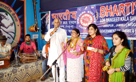 BLSKS artists performing during Dogri musical concert at Jammu on Friday.