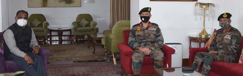 Lieutenant Governor, Girish Chandra Murmu meeting General Officer Commanding-in-Chief Northern Command Lt. Gen Y K Joshi on Wednesday.