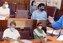 Chief Secretary B V R Subrahmanyam chairing a meeting at Srinagar.