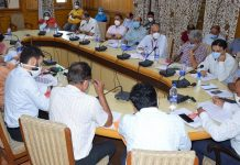 Divisional Commissioner Kashmir Pandurang K Pole chairing a meeting on Wednesday.