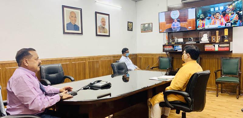 Union Minister Dr Jitendra Singh addressing a webinar of youth workers of Bharatiya Janata Yuva Morcha (BJYM), on Monday.