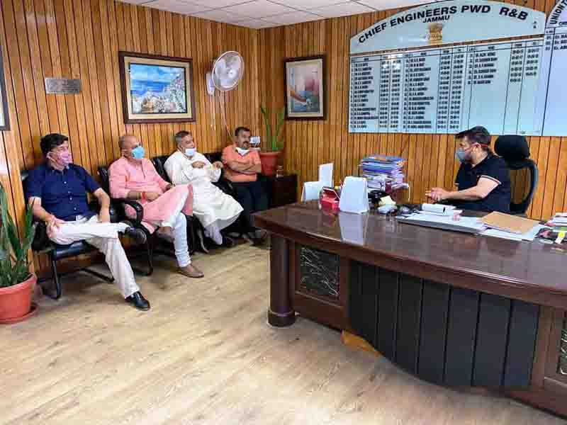 BJP leaders during a meeting with CE PWD at Jammu on Wednesday.