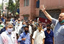 Senior Trade Union leader Som Nath addressing PHE workers at Udhampur on Wednesday.