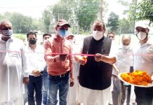 NC Provincial President Devender Singh Rana inaugurating a Business establishment in Nagrota on Monday.
