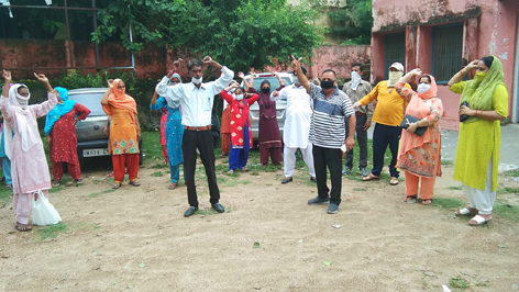 Councilors protesting against PHE Department at Samba on Friday. — Excelsior/Badyal