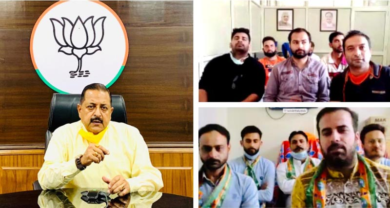 Union Minister Dr Jitendra Singh holding a video conference interaction with BJYM leaders from district Doda and district Kishtwar, on Tuesday.