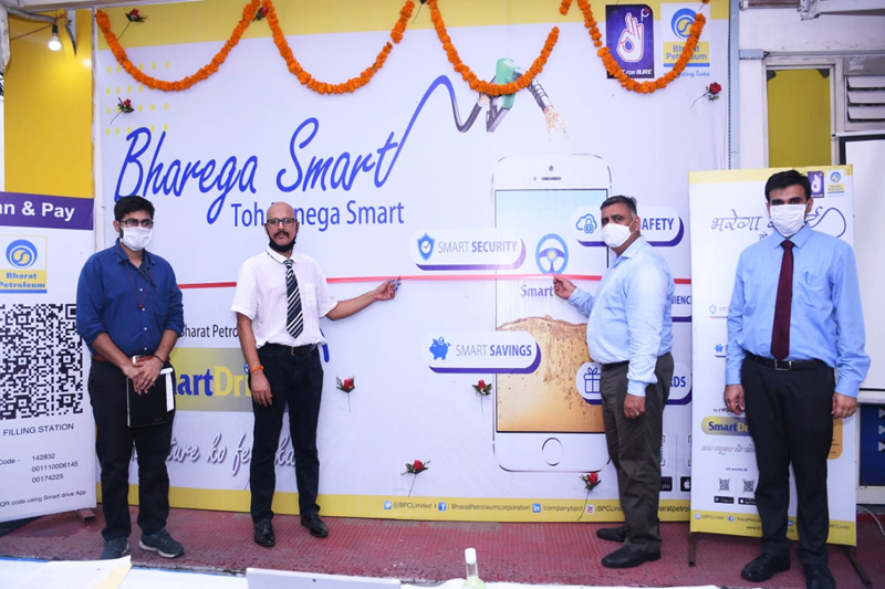 BPCL's Territory Manager for J&K and Ladakh Rajesh Sharma along with his team launching SmartDrive Payment App.