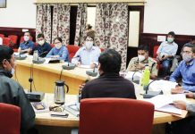 CEC LAHDC, Leh Gyal P Wangyal chairing a meeting on Monday.