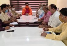 BJP leaders during a meeting at Jammu on Tuesday.