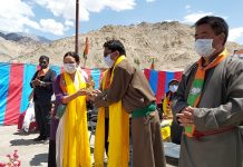 Ladakh leaders at Ist anniversary celebrations of Ladakh UT at Leh on Wednesday. — Excelsior/ Morup Stanzin